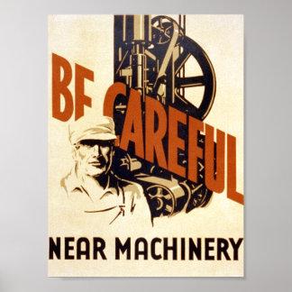 Poster vintage - faites attention - machines - TOI