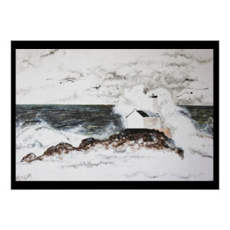 Poster watercolour headlight storm Brittany island