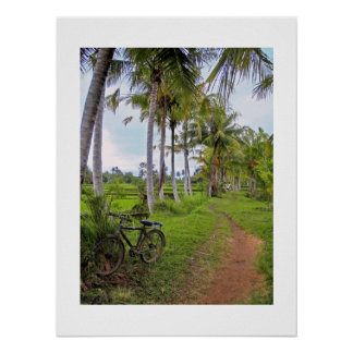 "Poster  white (18"" x 24"")  Ubud Bike Bali"