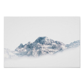 Poster White Snow-covered Mountain