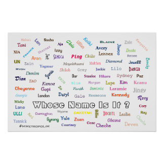 POSTER Whose Name Is It ? Unisex names on poster