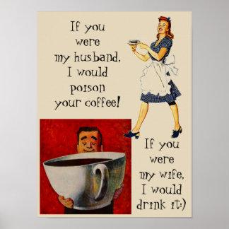 Poster wife & husband funny coffee bar humor gag