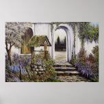Poster Wishing well garden full brighter colours