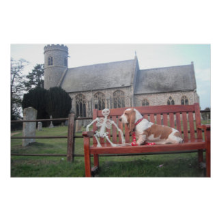Poster With Basset Hound Visiting Beautiful Church