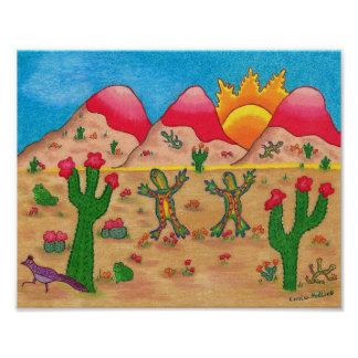 Poster with cactus and dancing geckos