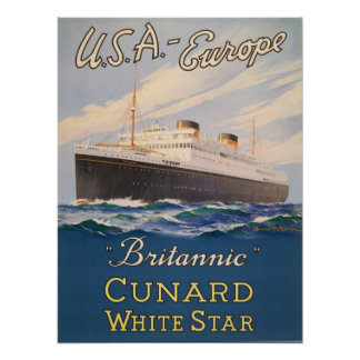 Poster with Cruise Ship Advertising Poster