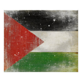 Poster with Distressed Flag from Palestine
