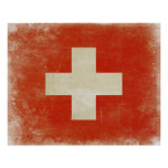 Poster with Distressed Switzerland Flag
