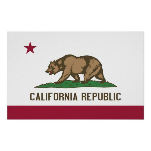 Poster with Flag of California, U.S.A.