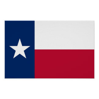 Poster with Flag of Texas, U.S.A.