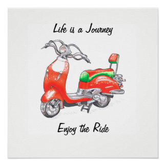 Poster with funny scooter and phrase perfect poster