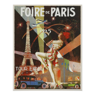Poster with Paris Art Deco Print from The 1920 s