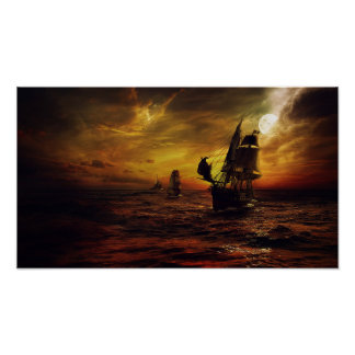 Poster with Pirate Ship