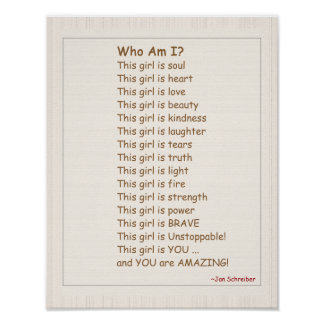 Poster with Poem, Encouragement for Girls