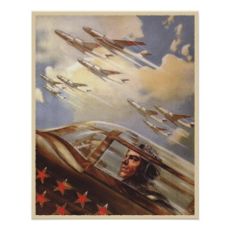 Poster with Vintage USSR Air Force Propaganda