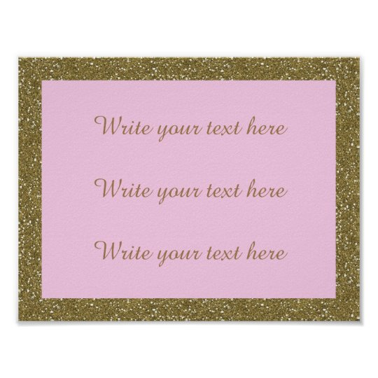Poster Write Your Own Text, gold, pink,horizontal