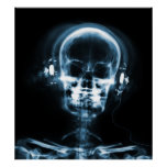 POSTER- X-RAY MUSIC SKELETON BLACK BLUE POSTER