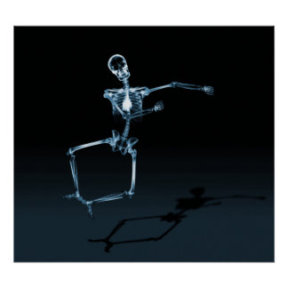 POSTER - X-RAY SKELETON JOY LEAP BLK BLUE