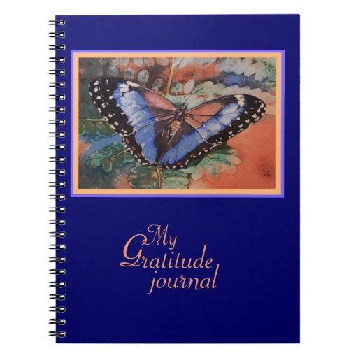 Posterized Blue Morpho Gratitude Journal Spiral Note Books