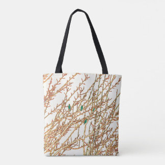 Posterized Green Birds in a Tree Tote Bag