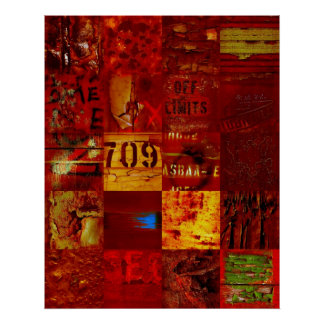 Posters Street Art Abstract Burnt Red 32