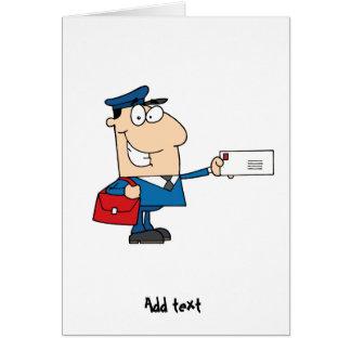 Postman postal worker cartoon mascot personalized card