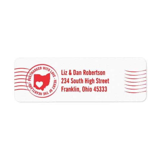Postmark OHIO Heart of the Heartland Address Label
