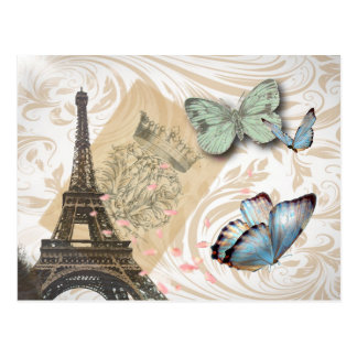 postmark scripts butterfly Paris Effiel Tower Postcard
