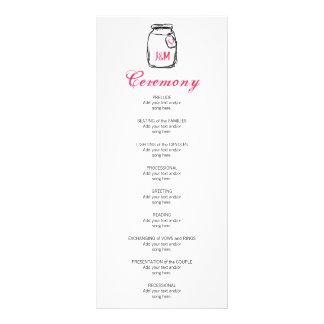 Pot de maçon et programme rose de mariage de coeur carte double en  couleur