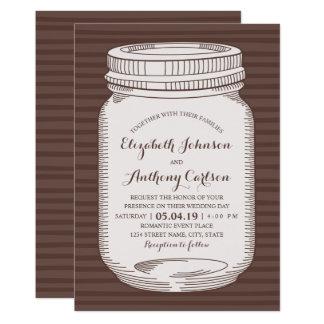 Pot de maçon vintage unique de pays de mariage carton d'invitation  12,7 cm x 17,78 cm
