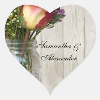 Pot de maçon w/Rose et fleurs sauvages Autocollants En Cœur