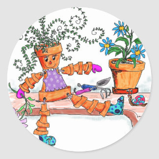 Pot lady classic round sticker