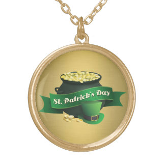 Pot of Gold and Leprechaun Hat Gold Plated Necklace