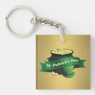 Pot of Gold and Leprechaun Hat Keychain