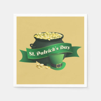 Pot of Gold and Leprechaun Hat Paper Napkin