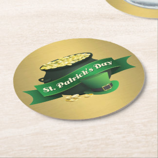 Pot of Gold and Leprechaun Hat Round Paper Coaster