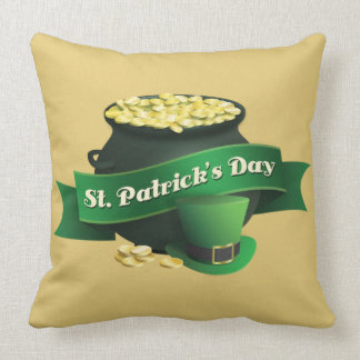 Pot of Gold and Leprechaun Hat Throw Pillow