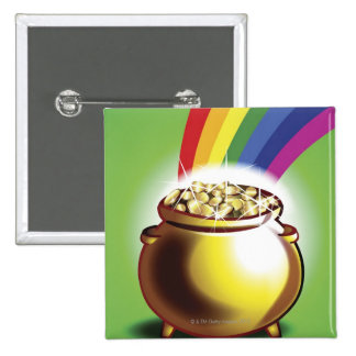 Pot of gold and rainbow 2 inch square button