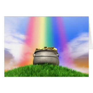 Pot Of Gold And Rainbow On Grassy Hill Card