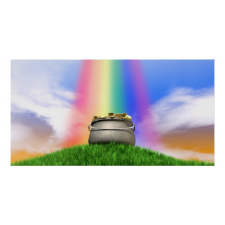 Pot Of Gold And Rainbow On Grassy Hill Poster