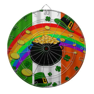 Pot of gold dartboard with darts