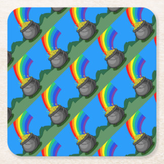 Pot of Gold & Rainbow Square Paper Coaster
