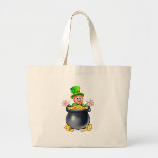 Pot of Gold Saint Patricks Day Leprechaun Large Tote Bag