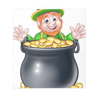 Pot of Gold Saint Patricks Day Leprechaun Notepad
