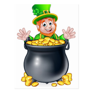 Pot of Gold Saint Patricks Day Leprechaun Postcard