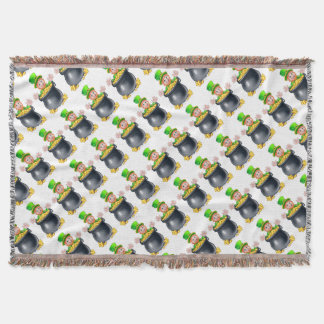 Pot of Gold Saint Patricks Day Leprechaun Throw Blanket