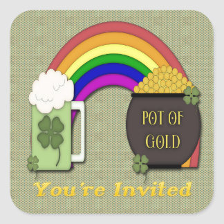 Pot of Gold St Paddys Day Invitation envelope seal Square Sticker