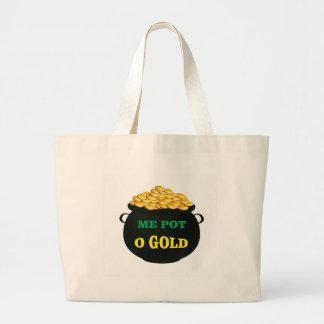 pot of gold treasure pot large tote bag