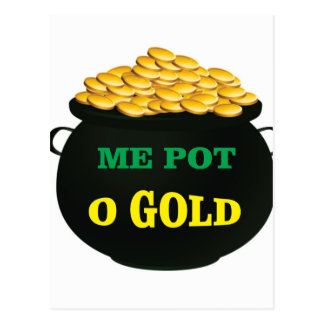 pot of gold treasure pot postcard