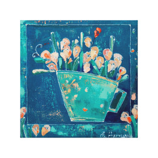 pot with flowers canvas print
